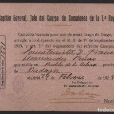 Militaria: MADRID, -SOMATEN- LICENCIA DE ARMA, FIRMA: EL COMANDANTE GENERAL, AÑO 1924, VER FOTOS. Lote 129561715