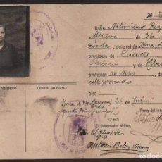 Militaria: CACERES, CARNET IDENTIDAD, -ORDEN PUBLICO- AÑO 1937, FIRMADO: EL ALCALDE, VER FOTOS. Lote 129571619