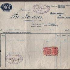 Militaria: VALENCIA, U.G.T. C.N.T. - FACTURA PIO FERRERES, FEBRERO 1939, VER FOTO. Lote 130108147
