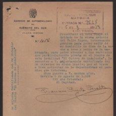 Militaria: SEVILLA, PERMISO PERA ACUDIR AL PERIODICO--EL CORREO DE ANDALUCIA-- AÑO 1938, VER FOTO. Lote 130754112