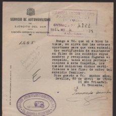Militaria: SEVILLA, SERVICIO DE AUTOMOVILISMO, AÑO 1938, VER FOTO. Lote 130754172
