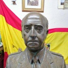 Militaria: BUSTO DE FRANCISCO FRANCO BAHAMONDE, ORIGINAL DE ÉPOCA, TAMAÑO NATURAL EN BRONCE .. Lote 130900672