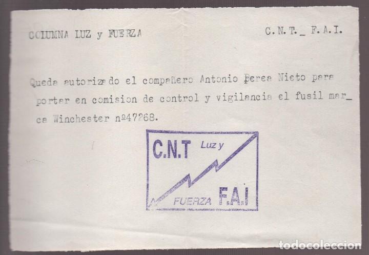 COLUMNA LUZ Y FUERZA, C.N.T- AUTORIZACION FUSIL WINCHESTER Nº 47268, VER FOTO (Militar - Guerra Civil Española)