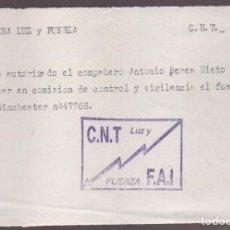 Militaria: COLUMNA LUZ Y FUERZA, C.N.T- AUTORIZACION FUSIL WINCHESTER Nº 47268, VER FOTO. Lote 131591466