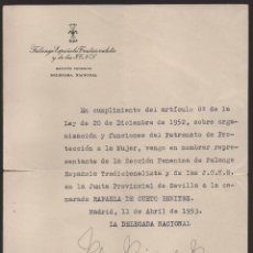 Militaria: MADRID, F.E.T. J.O.N.S. FIRMA ORIGINAL: PILAR PRIMO DE RIVERA, DELEGADA NACIONAL, VER FOTO. Lote 132174210