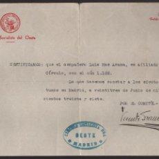 Militaria: MADRID, --CIRCULO SOCIALISTA DEL OESTE-- JULIO 1937, VER FOTO. Lote 132362218