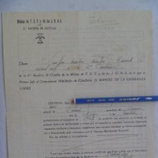 Militaria: GUERRA CIVIL - 8ª BANDERA DE CASTILLA DE FALANGE : CERTIFICADO SERVICIOS. VALLADOLID, 1939. Lote 133348146