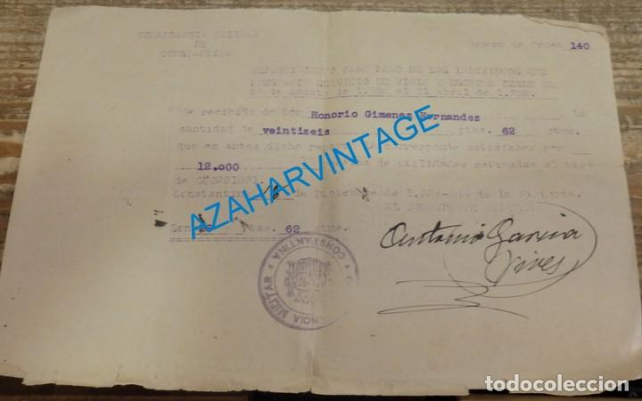 CONSTANTINA, 1939, GUERRA CIVIL, RECIBO POR SERVICIO DE VIGIA Y ESCUCHA, RARO (Militar - Guerra Civil Española)