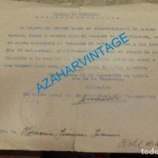 Militaria: CONSTANTINA, SEVILLA, 1939, GUERRA CIVIL, CITACION AYUNTAMIENTO A GANADEROS PARA ABASTECIMIENTO. Lote 133572042