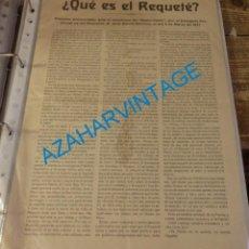 Militaria: CADIZ,1937,GUERRA CIVIL, ¿QUE ES EL REQUETE?,DISCURSO JOSE GARCIA BARROSO,22X32 CMS. Lote 134314430