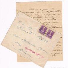 Militaria: CENSURA MILITAR REUS - VALENCIA - 1939 SOBRE CON CARTA. Lote 135308402
