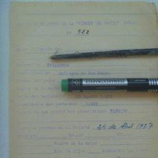 Militaria: GUERRA CIVIL - REQUETE : FICHA DE MEDIA FILIACION DEL TERCIO REQUETES VIRGEN DEL ROCIO, HUELVA, 1937. Lote 135571122