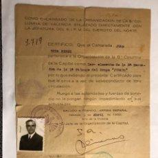 Militaria: GUERRA CIVIL. VALENCIA. LA QUINTA COLUMNA. SALVO CONDUCTO CAMARADA (9 DE ABRIL DE 1939). Lote 135856573