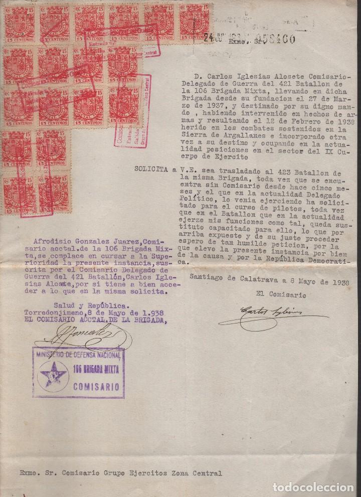 SANTIAGO DE CALATRAVA,FIRMA:D.CARLOS IGLESIAS ALOSETE, COMISARIO DELG. DE GUERRA, AFILIA. P.C Y.C.N. (Militar - Guerra Civil Española)