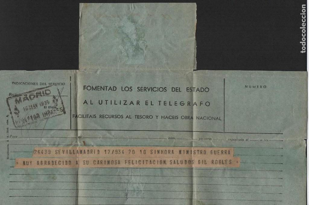 Militaria: TELEGRAMA- SEVILLA-MADRID- MINISTRO DE GUERRA, SALUDOS GIL ROBLES, AÑO 1934, VER FOTOS - Foto 2 - 136689914