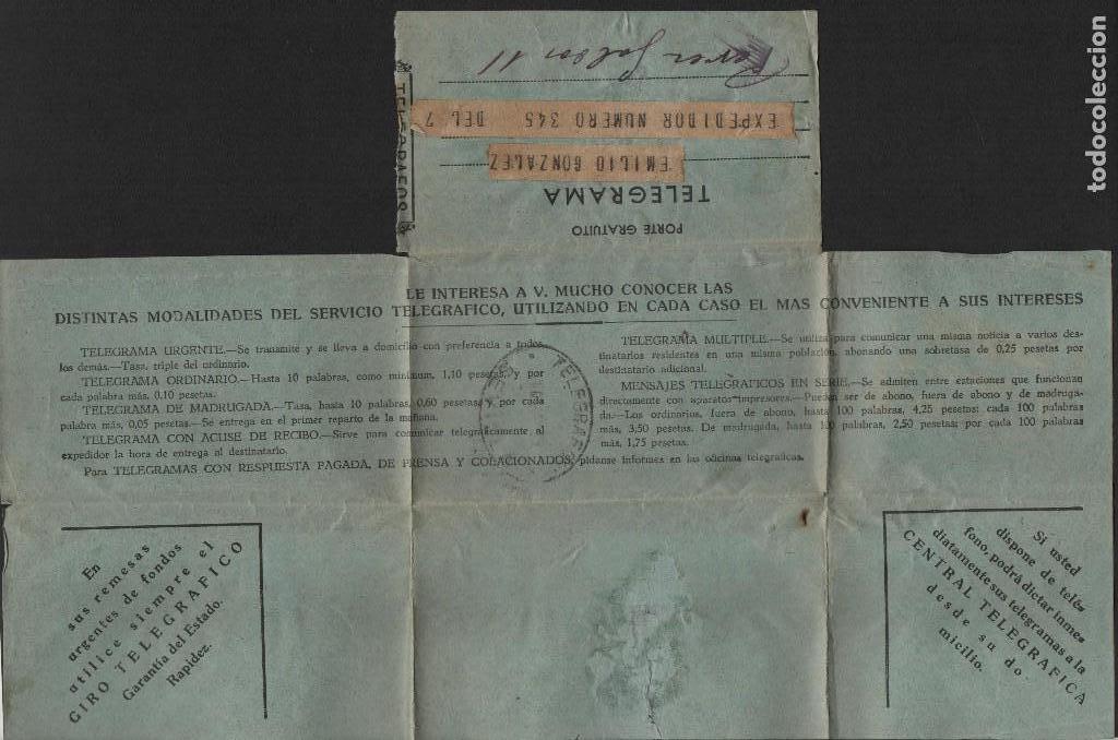 Militaria: TELEGRAMA- SEVILLA-MADRID- MINISTRO DE GUERRA, SALUDOS GIL ROBLES, AÑO 1934, VER FOTOS - Foto 3 - 136689914