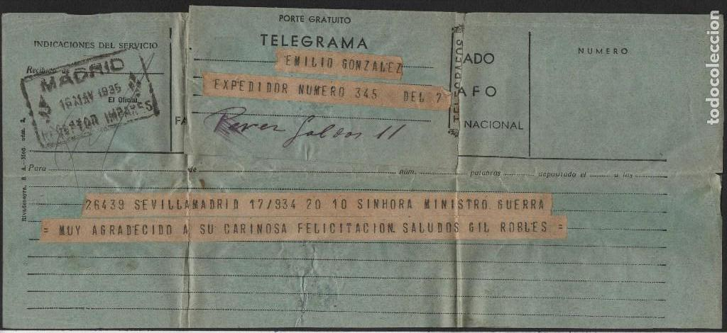 TELEGRAMA- SEVILLA-MADRID- MINISTRO DE GUERRA, SALUDOS GIL ROBLES, AÑO 1934, VER FOTOS (Militar - Guerra Civil Española)