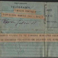 Militaria: TELEGRAMA- SEVILLA-MADRID- MINISTRO DE GUERRA, SALUDOS GIL ROBLES, AÑO 1934, VER FOTOS. Lote 136689914