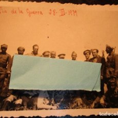 Militaria: FIN DE GUERRA FOTO INEDITA REGULARES OFICIALES COMBATIENTES LEGION EBRO 28 . III . 1939 GUERRA CIVIL. Lote 136769054
