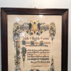 Militaria: PARTE OFICIAL DE GUERRA DEL CUARTEL GENERAL DEL GENERALISIMO,BURGOS 1º DE ABRIL DEL 1939. ¡¡ORIGINAL. Lote 138164566