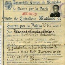 Militaria: GUERRA CIVIL TITULO DE CABALLERO MUTILADO DE GUERRA POR LA PATRIA, TENIENTE DE INFANTERIA. Lote 138715554