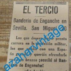 Militaria: SEVILLA, 1936, PUBLICIDAD DE LA EPOCA, ALISTAMIENTO EN EL TERCIO DE LA LEGION,66X108MM. Lote 139395221