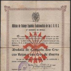 Militaria: SEVILLA,MILICIAS F.E. J.O.N.S. CONCECION DE: MEDALLA CAMPAÑA, FIRMA. COMANDANTE JEFE DE LA BANDERA, . Lote 139707222