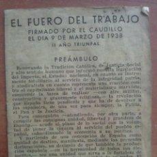 Militaria: 1939 EL FUERO DEL TRABAJO. Lote 140065662