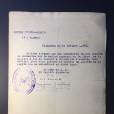 Militaria: DOCUMENTO MILITAR SECTOR TOLEDO-MADRID,(1936).. Lote 140160593