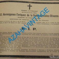Militaria: GUERRA CIVIL, 1938, ESQUELA MARQUES DE FUENTE OLIVAR, MUERTO EN CACERES. Lote 140240630