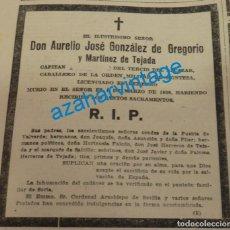 Militaria: 1938, GUERRA CIVIL, ESQUELA REQUETE CAPITAN TERCIO DEL ALCAZAR. Lote 140246290