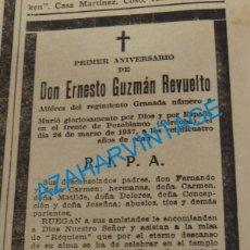 Militaria: 1938, GUERRA CIVIL, ESQUELA ALFEREZ REGIMIENTO GRANADA 6, MUERTO EN POZOBLANCO, CORDOBA. Lote 140291526