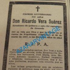 Militaria: 1938, GUERRA CIVIL, ESQUELA CABO REGIMIENTO GRANADA , MUERTO EN POZOBLANCO, CORDOBA. Lote 140294130
