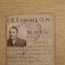 Militaria: 1937, CARNET PROVISIONAL, FET Y DE LAS JONS, ZARAGOZA. Lote 140383341
