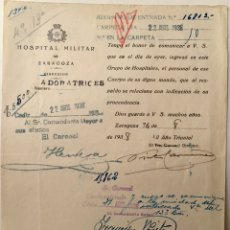 Militaria: 1938, ZARAGOZA. GUERRA CIVIL, DOCUMENTO DEL HOSPITAL MILITAR DE ZARAGOZA.. Lote 140397702