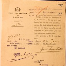 Militaria: 1939, BURGOS, GUERRA CIVIL, DOCUMENTO DEL HOSPITAL MILITAR.. Lote 140411388