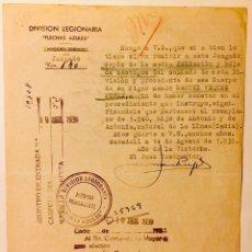 Militaria: 1939, DIVISIÓN LEGIONARIA, FLECHAS AZULES. SABADELL. GUERRA CIVIL, DOCUMENTO.. Lote 140413737