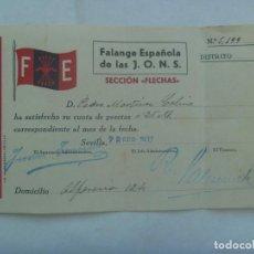 Militaria: GUERRA CIVIL - FALANGE : RECIBO CUOTA SECCION FLECHAS . SEVILLA, 1937. Lote 140499710