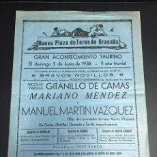 Militaria: CARTEL TOROS 1938 GUERRA CIVIL. Lote 141033577