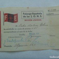 Militaria: GUERRA CIVIL - FALANGE : RECIBO CUOTA SECCION FLECHAS . SEVILLA, 1937. Lote 141140786