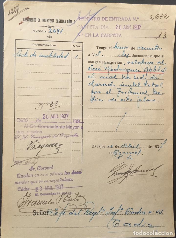 1937, BADAJOZ, GUERRA CIVIL, DOCUMENTO DEL REGIMIENTO DE INFANTERÍA CASTILLA NÚM. 3. (Militar - Guerra Civil Española)