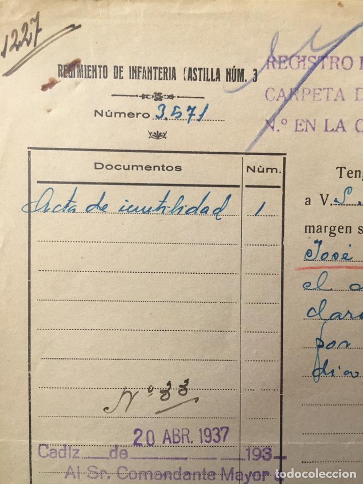 Militaria: 1937, BADAJOZ, GUERRA CIVIL, DOCUMENTO DEL REGIMIENTO DE INFANTERÍA CASTILLA NÚM. 3. - Foto 2 - 141649449