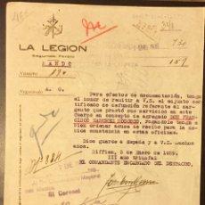 Militaria: 1939, RIFFIEN. GUERRA CIVIL, DOCUMENTO DE LA LEGIÓN. SEGUNDO TERCIO.. Lote 141693300