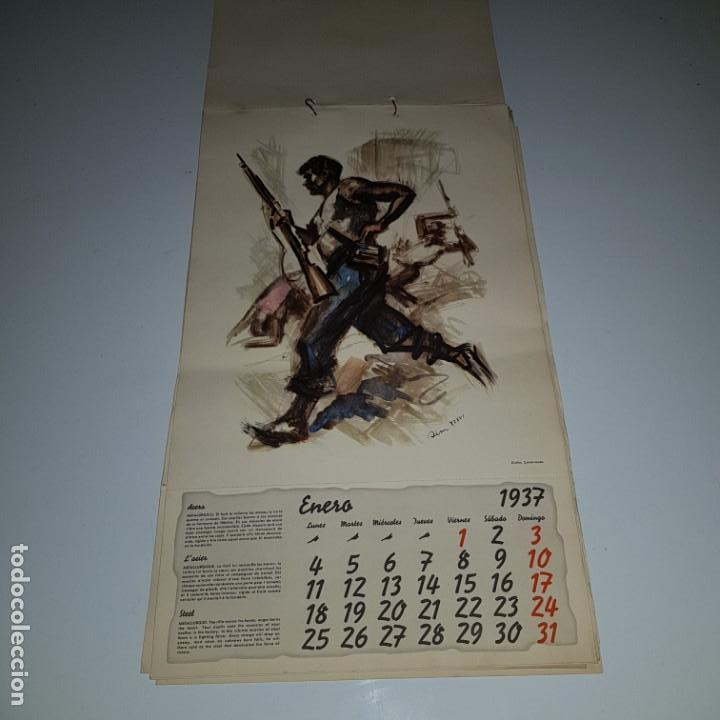 Militaria: ALMANAQUE DE LA REVOLUCION ESPAÑOLA 1937 -diseñado por SIM con los 12 meses del año --- UNICO - Foto 5 - 142420994