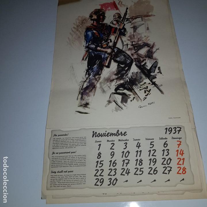 Militaria: ALMANAQUE DE LA REVOLUCION ESPAÑOLA 1937 -diseñado por SIM con los 12 meses del año --- UNICO - Foto 2 - 142420994