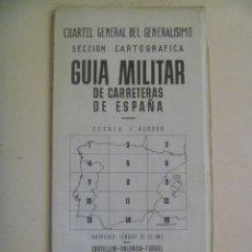 Militaria: GUERRA CIVIL- CUARTEL GRAL. GENERALISIMO, GUIA CARRETRAS Nº 9: CASTELLON, VALENCIA, MALLORCA. 1939.. Lote 142777118