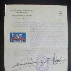Militaria: GUERRA CIVIL - FALANGE : CERTIFICADO DE EX PRESO DE LOS ROJOS DE FALANGISTA. ALMENDRALEJO. VIÑETA.. Lote 142819570