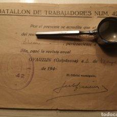 Militaria: OYARZUN, GUIPUZCOA, PRISIONEROS DE GUERRA ACREDITACION TRABAJADOR, 1940, BATALLON 42, CAMPO CONCENTR. Lote 142932772