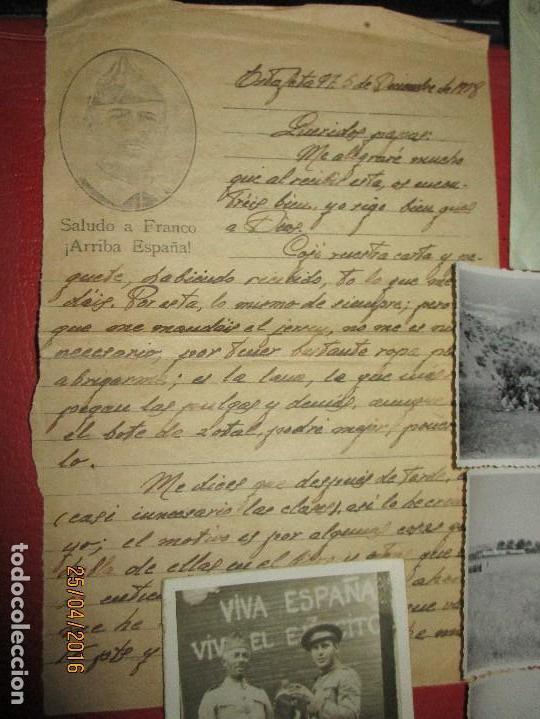 FOTOS Y CARTA EFIGIE DE FRANCO FRENTE CATALUÑA FET JONS CENSURA GUERRA CIVIL 1938 BON AUTOMOBIL (Militar - Guerra Civil Española)