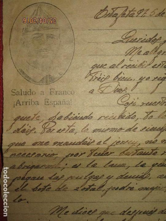 Militaria: FOTOS Y CARTA EFIGIE DE FRANCO FRENTE CATALUÑA FET JONS CENSURA GUERRA CIVIL 1938 BON AUTOMOBIL - Foto 3 - 144098166